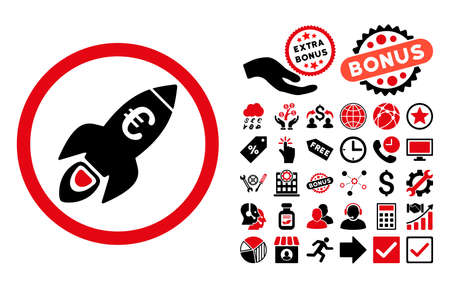 satellite launch: Euro Rocket Startup pictograph with bonus icon set. Vector illustration style is flat iconic bicolor symbols, intensive red and black colors, white background. Illustration