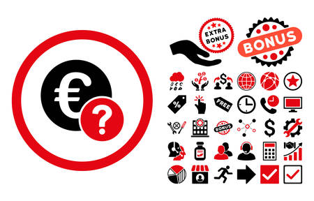Euro Status icon with bonus symbols. Vector illustration style is flat iconic bicolor symbols, intensive red and black colors, white background.