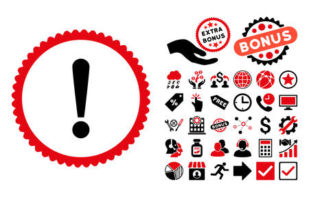 Exclamation Sign pictograph with bonus icon set. Vector illustration style is flat iconic bicolor symbols, intensive red and black colors, white background.