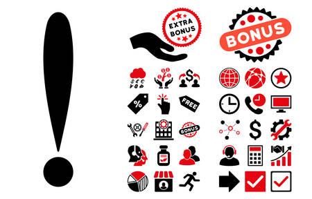 exclamation sign icon: Exclamation Sign icon with bonus icon set. Vector illustration style is flat iconic bicolor symbols, intensive red and black colors, white background.