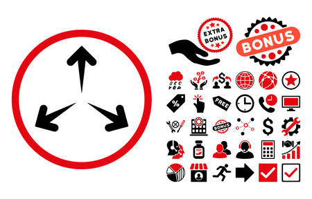 reshape: Expand Arrows pictograph with bonus pictogram. Vector illustration style is flat iconic bicolor symbols, intensive red and black colors, white background. Illustration