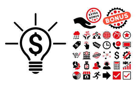 Financial Idea Bulb icon with bonus pictograph collection. Vector illustration style is flat iconic bicolor symbols, intensive red and black colors, white background.