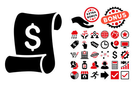 indenture: Financial Receipt Roll icon with bonus pictograph collection. Vector illustration style is flat iconic bicolor symbols, intensive red and black colors, white background.