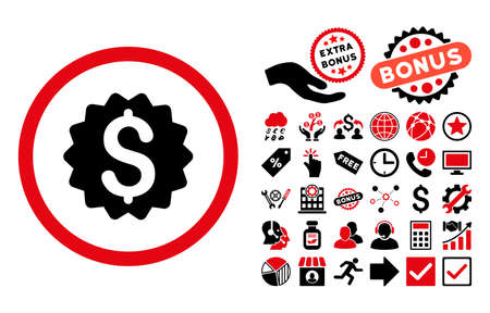 financial reward: Financial Reward Seal icon with bonus elements. Vector illustration style is flat iconic bicolor symbols, intensive red and black colors, white background.