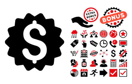 financial reward: Financial Reward Seal icon with bonus clip art. Vector illustration style is flat iconic bicolor symbols, intensive red and black colors, white background.