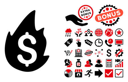 misfortune: Fire Disaster pictograph with bonus pictures. Vector illustration style is flat iconic bicolor symbols, intensive red and black colors, white background.
