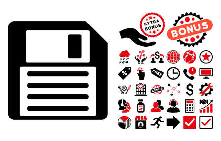 save as: Floppy pictograph with bonus images. Vector illustration style is flat iconic bicolor symbols, intensive red and black colors, white background.