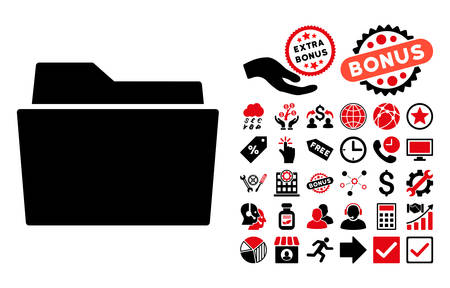 billfold: Folder icon with bonus pictogram. Vector illustration style is flat iconic bicolor symbols, intensive red and black colors, white background.