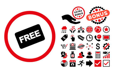 allowed to pass: Free Card pictograph with bonus pictures. Vector illustration style is flat iconic bicolor symbols, intensive red and black colors, white background.