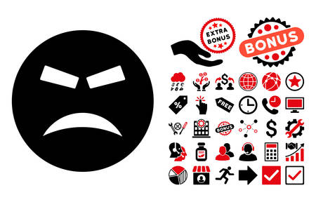 annoying: Furious icon with bonus design elements. Vector illustration style is flat iconic bicolor symbols, intensive red and black colors, white background.