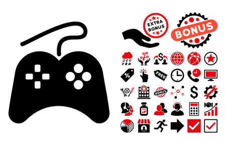 wii: Gamepad icon with bonus clip art. Vector illustration style is flat iconic bicolor symbols, intensive red and black colors, white background.