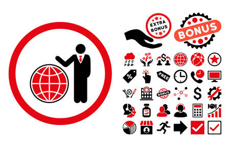 Global Manager icon with bonus icon set. Vector illustration style is flat iconic bicolor symbols, intensive red and black colors, white background.