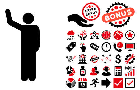 persona: Hello Pose pictograph with bonus symbols. Vector illustration style is flat iconic bicolor symbols, intensive red and black colors, white background.