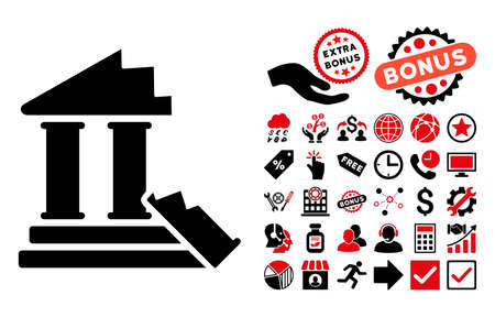 ruins: Historic Ruins icon with bonus images. Vector illustration style is flat iconic bicolor symbols, intensive red and black colors, white background.