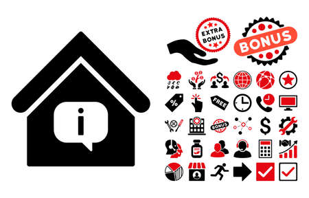 hint: Hint Building icon with bonus pictograph collection. Vector illustration style is flat iconic bicolor symbols, intensive red and black colors, white background.