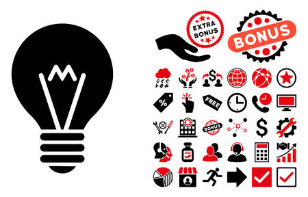 hint: Hint Bulb icon with bonus icon set. Vector illustration style is flat iconic bicolor symbols, intensive red and black colors, white background.