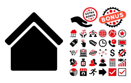 habitation: Home icon with bonus pictogram. Vector illustration style is flat iconic bicolor symbols, intensive red and black colors, white background.