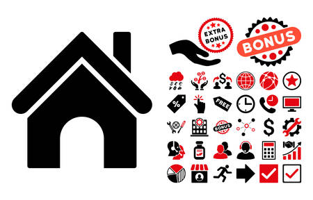 homeland: Home icon with bonus pictograph collection. Vector illustration style is flat iconic bicolor symbols, intensive red and black colors, white background.