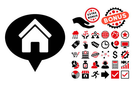 House Info Balloon icon with bonus icon set. Vector illustration style is flat iconic bicolor symbols, intensive red and black colors, white background.