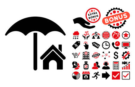 House under Umbrella icon with bonus symbols. Vector illustration style is flat iconic bicolor symbols, intensive red and black colors, white background. Illustration