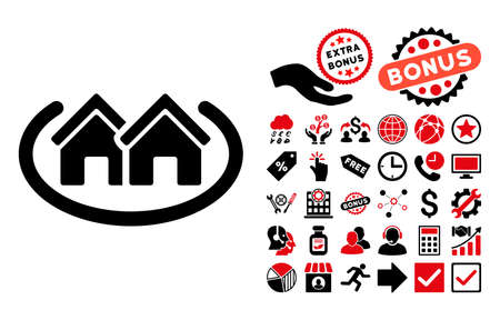 suburban street: Houses Area pictograph with bonus pictures. Vector illustration style is flat iconic bicolor symbols, intensive red and black colors, white background.