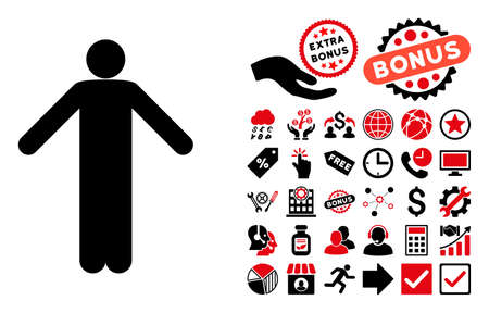Ignorance Pose pictograph with bonus elements. Vector illustration style is flat iconic bicolor symbols, intensive red and black colors, white background.