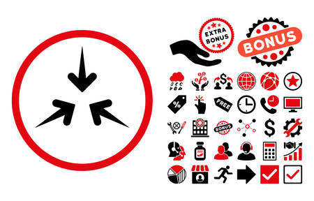 impact: Impact Arrows icon with bonus pictograph collection. Vector illustration style is flat iconic bicolor symbols, intensive red and black colors, white background. Illustration
