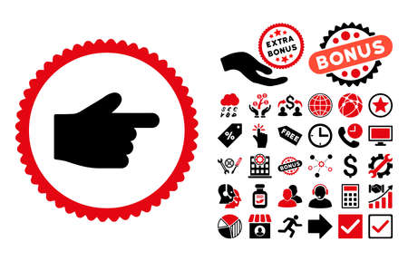 Index Finger pictograph with bonus icon set. Vector illustration style is flat iconic bicolor symbols, intensive red and black colors, white background.