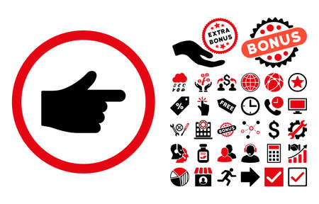 redirect: Index Pointer pictograph with bonus symbols. Vector illustration style is flat iconic bicolor symbols, intensive red and black colors, white background.