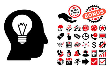 intellect: Intellect Bulb icon with bonus elements. Vector illustration style is flat iconic bicolor symbols, intensive red and black colors, white background.