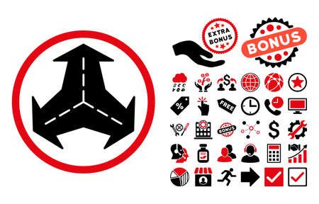 bifurcation: Intersection Directions pictograph with bonus icon set. Vector illustration style is flat iconic bicolor symbols, intensive red and black colors, white background.