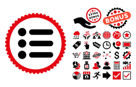 item list: Items icon with bonus symbols. Vector illustration style is flat iconic bicolor symbols, intensive red and black colors, white background.