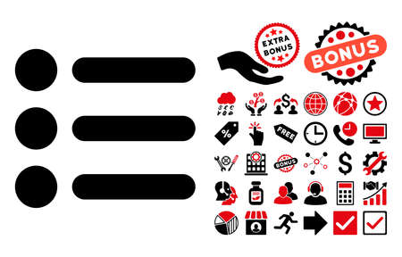 item list: Items icon with bonus design elements. Vector illustration style is flat iconic bicolor symbols, intensive red and black colors, white background.