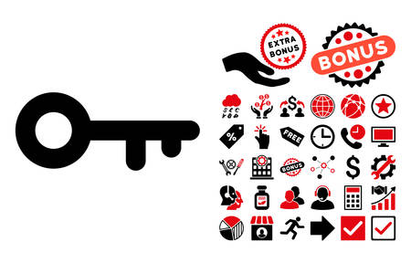 latchkey: Key icon with bonus pictogram. Vector illustration style is flat iconic bicolor symbols, intensive red and black colors, white background.
