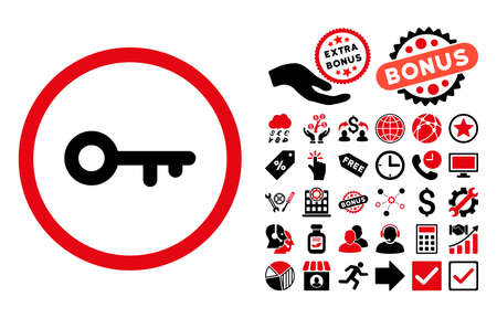 latchkey: Key icon with bonus icon set. Vector illustration style is flat iconic bicolor symbols, intensive red and black colors, white background. Illustration