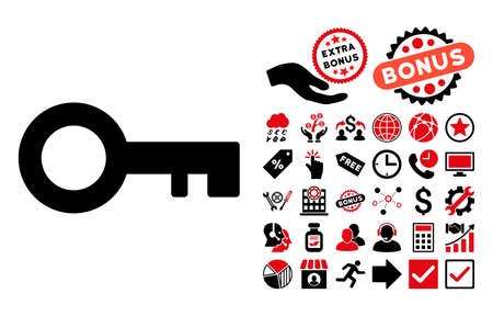 passkey: Key pictograph with bonus pictures. Vector illustration style is flat iconic bicolor symbols, intensive red and black colors, white background.