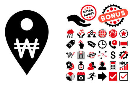 financial position: Korean Won Map Marker pictograph with bonus symbols. Vector illustration style is flat iconic bicolor symbols, intensive red and black colors, white background.