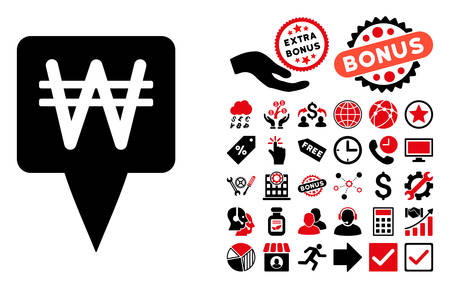 won: Korean Won Map Pointer icon with bonus images. Vector illustration style is flat iconic bicolor symbols, intensive red and black colors, white background. Illustration