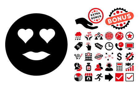 pictograph: Lady Love icon with bonus images. Vector illustration style is flat iconic bicolor symbols, intensive red and black colors, white background.