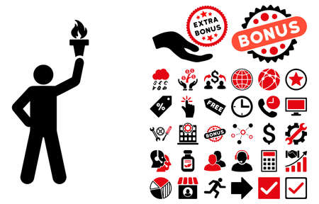 Leader With Freedom Torch pictograph with bonus symbols. Vector illustration style is flat iconic bicolor symbols, intensive red and black colors, white background.