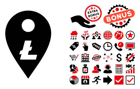 financial position: Litecoin Map Marker pictograph with bonus images. Vector illustration style is flat iconic bicolor symbols, intensive red and black colors, white background. Illustration