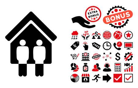 Personnes vivant icône avec images bonus. Vector illustration style est plat symboles iconiques bicolor, les couleurs rouges et noirs intenses, fond blanc.