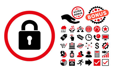 registry: Lock Keyhole icon with bonus pictures. Vector illustration style is flat iconic bicolor symbols, intensive red and black colors, white background.