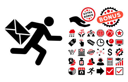 Mail Courier pictograph with bonus clip art. Vector illustration style is flat iconic bicolor symbols, intensive red and black colors, white background.