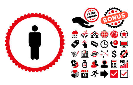 Man pictograph with bonus symbols. Vector illustration style is flat iconic bicolor symbols, intensive red and black colors, white background.