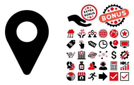 pictograma indicador de mapa con elementos de bonificación. ilustración vectorial estilo es llano bicolor símbolos icónicos, colores rojo y negro, fondo blanco intensivos.