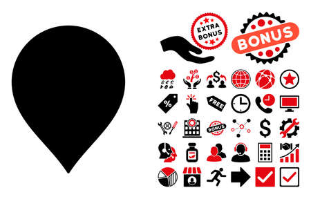 map marker: Map Marker pictograph with bonus clip art. Vector illustration style is flat iconic bicolor symbols, intensive red and black colors, white background.