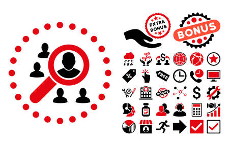 lookup: Marketing pictograph with bonus images. Vector illustration style is flat iconic bicolor symbols, intensive red and black colors, white background.
