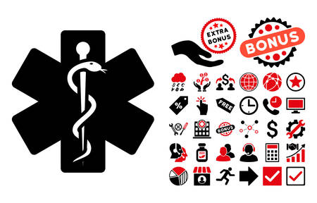 medical emblem: Medical Emblem icon with bonus pictures. Vector illustration style is flat iconic bicolor symbols, intensive red and black colors, white background. Illustration