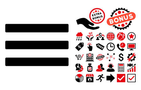 nomenclature: Menu pictograph with bonus elements. Vector illustration style is flat iconic bicolor symbols, intensive red and black colors, white background.